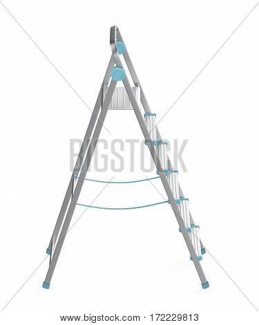 Unfolded aluminum ladder on white background, 3D illustration