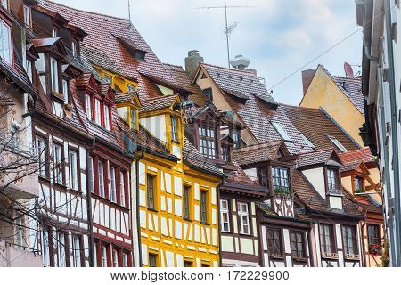 Nuremberg, Franconia colorful half-timbered houses in Bavaria