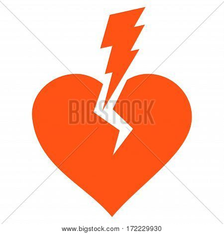 Love Heart Crash flat icon. Vector orange symbol. Pictogram is isolated on a white background. Trendy flat style illustration for web site design logo ads apps user interface.