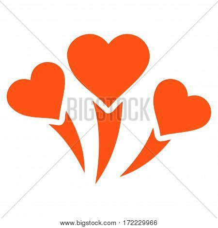 Love Heart Fireworks flat icon. Vector orange symbol. Pictogram is isolated on a white background. Trendy flat style illustration for web site design logo ads apps user interface.