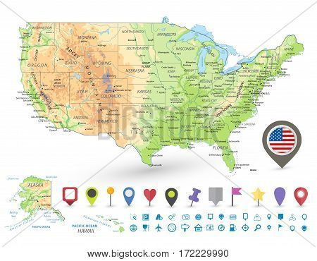 USA detailed physical map and navigation icons with water objects and cities.