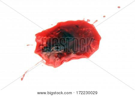 a blood stain over a white background