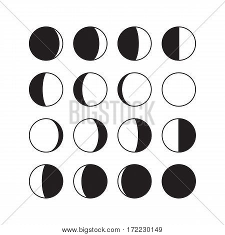 Moon phases icons. Astronomy lunar phases. Whole cycle from new moon to full moon. Crescent and gibbous signs. Vector eps8 illustration.