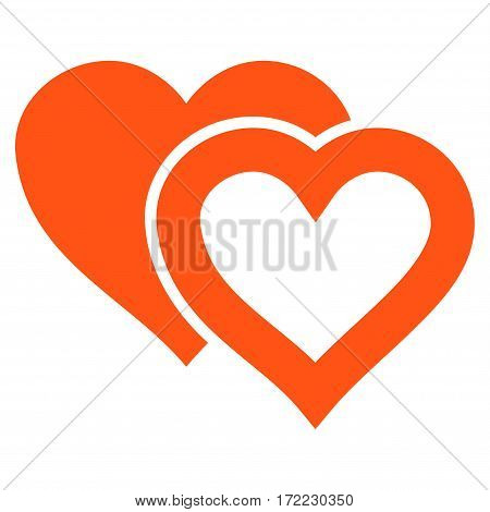 Love Hearts flat icon. Vector orange symbol. Pictogram is isolated on a white background. Trendy flat style illustration for web site design logo ads apps user interface.