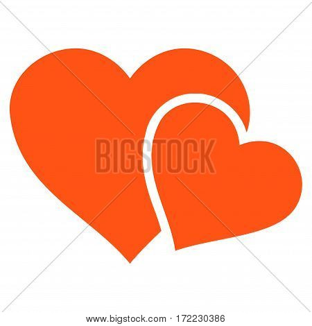 Love Hearts flat icon. Vector orange symbol. Pictograph is isolated on a white background. Trendy flat style illustration for web site design logo ads apps user interface.