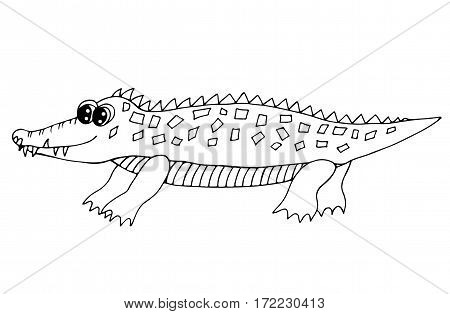 Cute crocodile isolated on the white background. For coloring book and other child design.