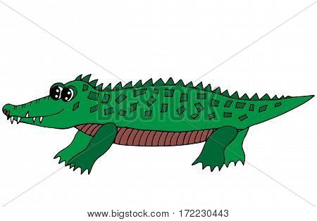 Cute green crocodile isolated on the white background. For coloring book and other child design.