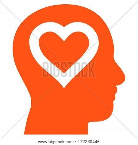 Love In Head flat icon. Vector orange symbol. Pictogram is isolated on a white background. Trendy flat style illustration for web site design logo ads apps user interface.