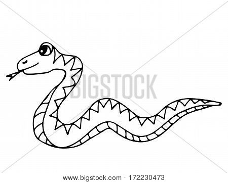 Cute snake isolated on the white background. For coloring book and other child design.