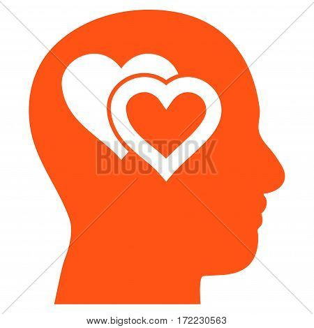 Love In Mind flat icon. Vector orange symbol. Pictogram is isolated on a white background. Trendy flat style illustration for web site design logo ads apps user interface.