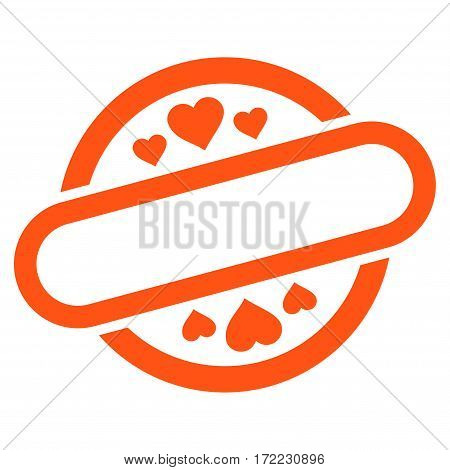 Love Stamp Seal flat icon. Vector orange symbol. Pictogram is isolated on a white background. Trendy flat style illustration for web site design logo ads apps user interface.