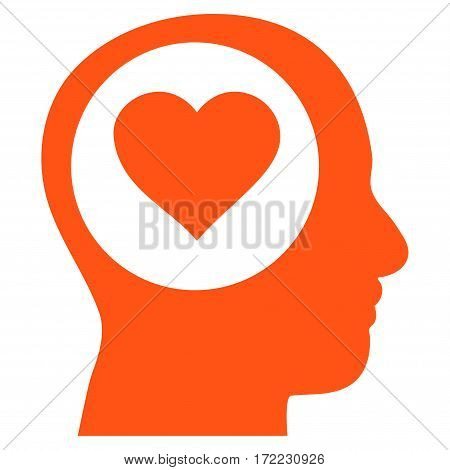 Love Thinking Head flat icon. Vector orange symbol. Pictogram is isolated on a white background. Trendy flat style illustration for web site design logo ads apps user interface.