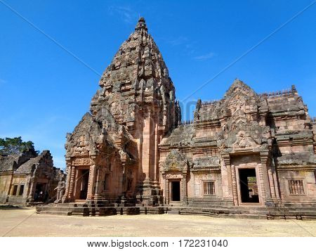Prasat Hin Phanom Rung, Ancient Khmer Temple against vivid blue sky, Buriram Province of Thailand