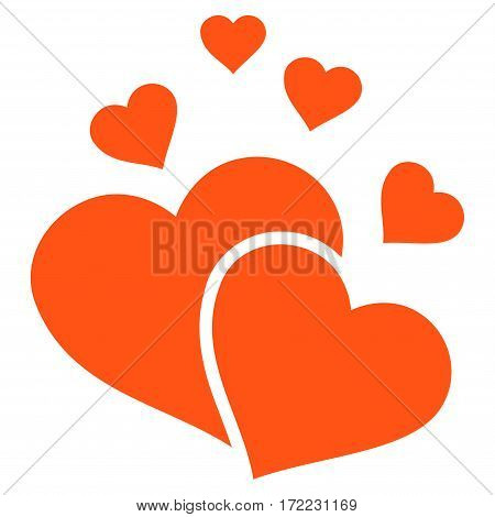 Lovely Hearts flat icon. Vector orange symbol. Pictogram is isolated on a white background. Trendy flat style illustration for web site design logo ads apps user interface.