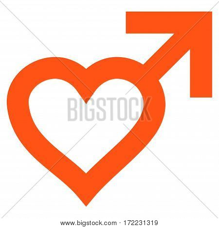 Male Heart flat icon. Vector orange symbol. Pictograph is isolated on a white background. Trendy flat style illustration for web site design logo ads apps user interface.