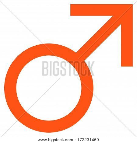 Mars Male Symbol flat icon. Vector orange symbol. Pictograph is isolated on a white background. Trendy flat style illustration for web site design logo ads apps user interface.