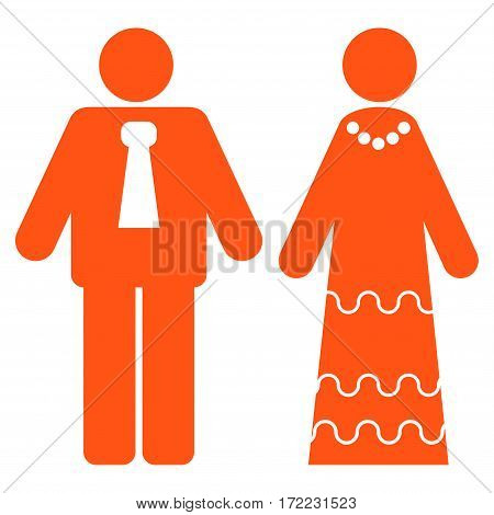 Newlyweds flat icon. Vector orange symbol. Pictogram is isolated on a white background. Trendy flat style illustration for web site design logo ads apps user interface.