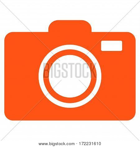 Photo Camera flat icon. Vector orange symbol. Pictogram is isolated on a white background. Trendy flat style illustration for web site design logo ads apps user interface.