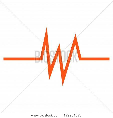 Pulse Signal flat icon. Vector orange symbol. Pictogram is isolated on a white background. Trendy flat style illustration for web site design logo ads apps user interface.