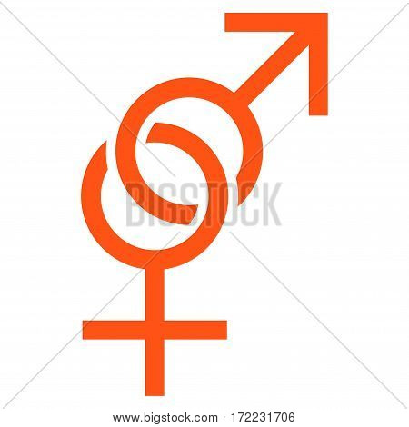 Sex Symbol flat icon. Vector orange symbol. Pictogram is isolated on a white background. Trendy flat style illustration for web site design logo ads apps user interface.