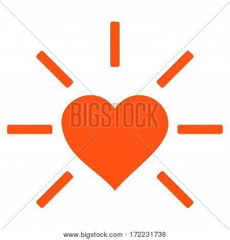 Shiny Love Heart flat icon. Vector orange symbol. Pictogram is isolated on a white background. Trendy flat style illustration for web site design logo ads apps user interface.