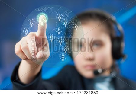 Girl chooses interlocutor for communication in the network