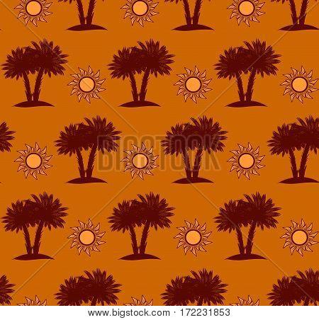 Desert seamless pattern with palm trees and sun desert landscape on sand background. Vector illustration