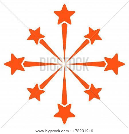 Star Burst Fireworks flat icon. Vector orange symbol. Pictograph is isolated on a white background. Trendy flat style illustration for web site design logo ads apps user interface.