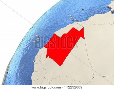 Mauritania On Globe