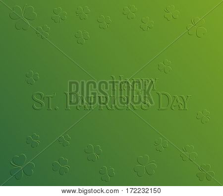 St. Patrick Day holiday card Happy St. Patrick's Day. Greeting card with inscription and trifoliate clover on green background festive vector illustration.