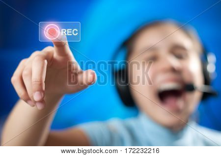 girl in headphones include a sound on record