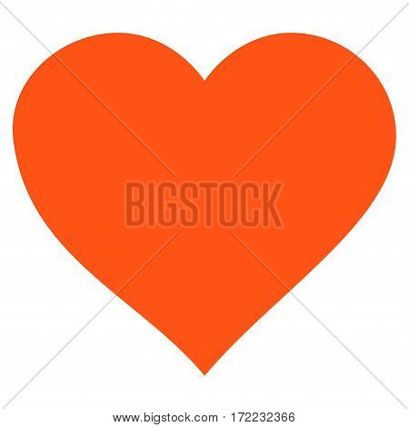 Valentine Heart flat icon. Vector orange symbol. Pictogram is isolated on a white background. Trendy flat style illustration for web site design logo ads apps user interface.