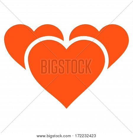 Valentine Hearts flat icon. Vector orange symbol. Pictograph is isolated on a white background. Trendy flat style illustration for web site design logo ads apps user interface.
