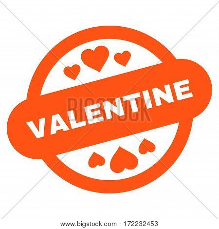 Valentine Stamp Seal flat icon. Vector orange symbol. Pictogram is isolated on a white background. Trendy flat style illustration for web site design logo ads apps user interface.