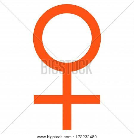Venus Female Symbol flat icon. Vector orange symbol. Pictogram is isolated on a white background. Trendy flat style illustration for web site design logo ads apps user interface.