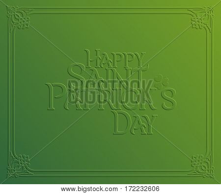 St. Patrick Day holiday card Happy St. Patrick's Day. Greeting card with inscription trifoliate clover and celtic ornament frame on green background vector illustration.