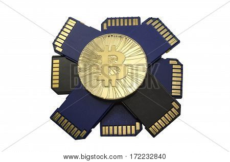 Single Shiny Gold Bitcoin Coin With Memory Cards  On White Background