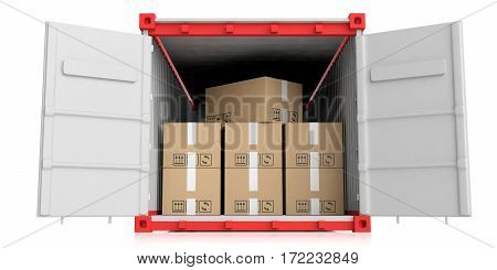 Container And Moving Boxes On White Background. 3D Illustration