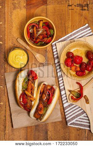 Hot Dogs Fajita Style with Roasted Veggies Dinner. Selective focus.