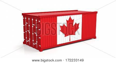 Canada Flag On Container. 3D Illustration