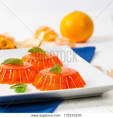 Mandarin Orange Jelly Summer Holiday Desserts. Selective focus.