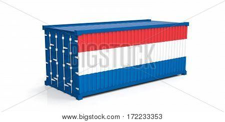 Netherlands Flag On Container. 3D Illustration