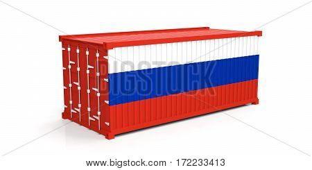 Russia Flag On Container. 3D Illustration