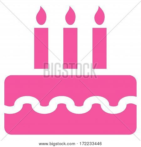 Birthday Cake flat icon. Vector pink symbol. Pictograph is isolated on a white background. Trendy flat style illustration for web site design logo ads apps user interface.