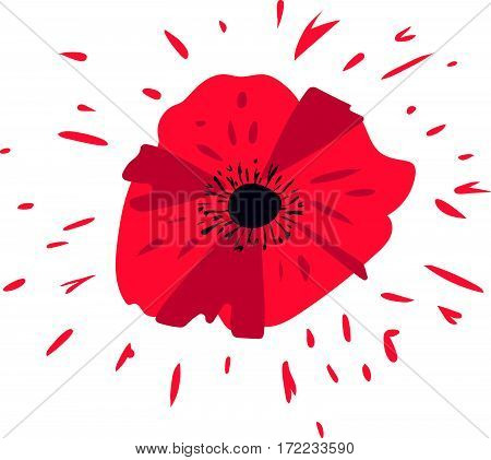 Vector illustration of a bright poppy flower. Card or invitation design element Remembrance day symbol.
