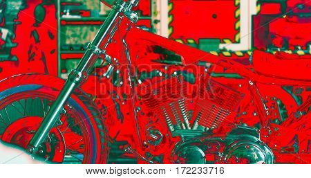 Focus on engine of motorcycle situating near shelf in mechanic shop. Red color predominating in this photo