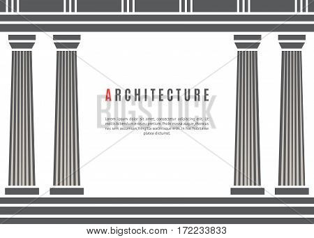 Architecture greek temple on white background. Vector illustration flat architecture design. Building ancient monument background. Column pillar parthenon landmark. Famous architecture