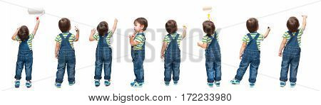 Set of figures of the child on an isolated white background