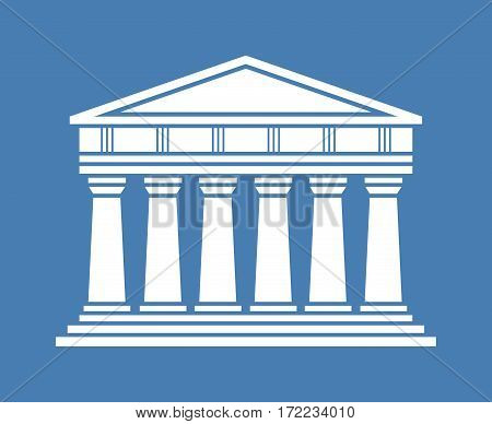 Architecture greek temple icon isolated on blue background. Vector illustration flat architecture design.