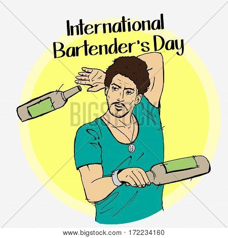 Barman Day Vector Illustration.